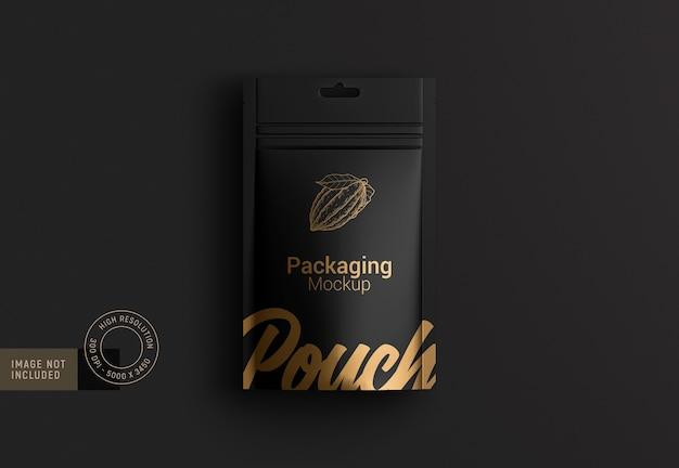 Fancy food pouch packaging mockup da versione vista dall'alto