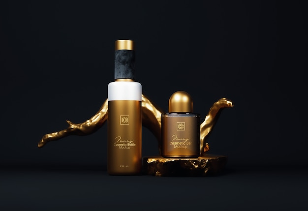 Fancy golden bottiglia cosmetica packaging mockup vista frontale