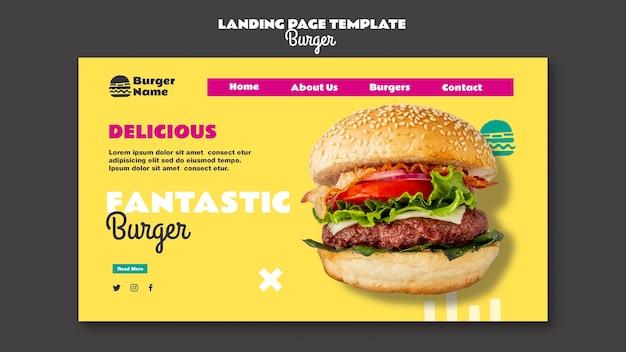 Fantastico modello web della pagina di destinazione dell'hamburger