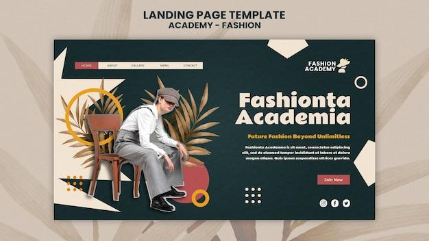 Modello di progettazione della pagina di destinazione dell'accademia di moda