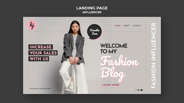 Pagina di destinazione del blog di moda Psd Premium