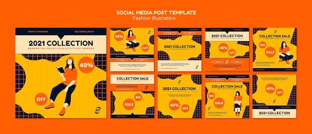 Modello di post sui social media di concetto di moda