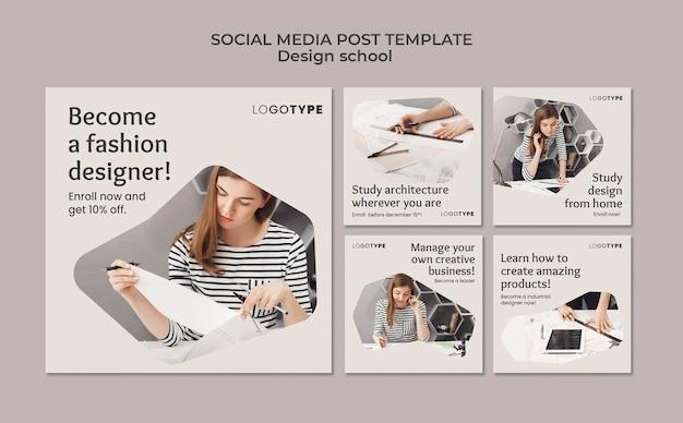 Modello di post sui social media della scuola di fashion design