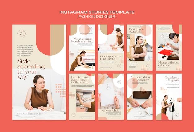 Modello di storie di instagram di concetto di stilista di moda