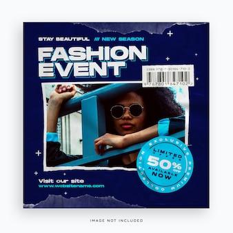 Modello di banner di social media evento di moda