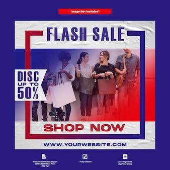 Modello di social media per pubblicità di vendita flash di moda