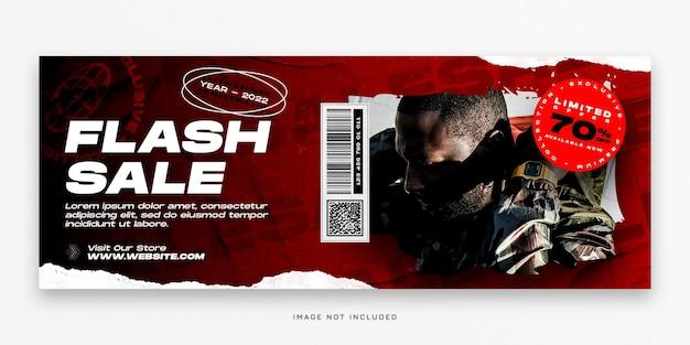 Modello psd di copertina di facebook di vendita flash di moda e banner web