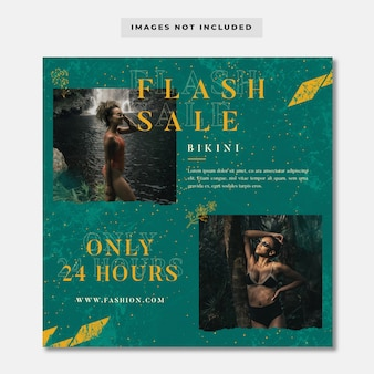 Modello di instagram banner social media vendita flash moda