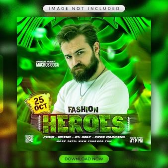 Volantino degli eroi della moda o modello di banner promozionale per social media