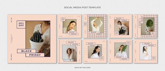 Insieme di modelli di moda instagram post