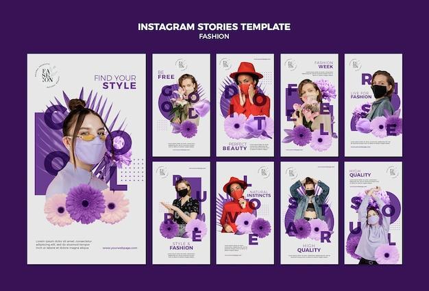 Modello di storie di moda instagram