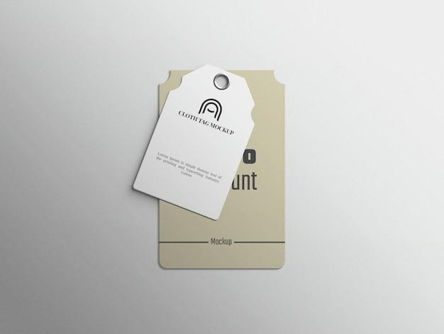 Mockup di etichetta di moda o cartellino del prezzo di abbigliamento su sfondo grigio