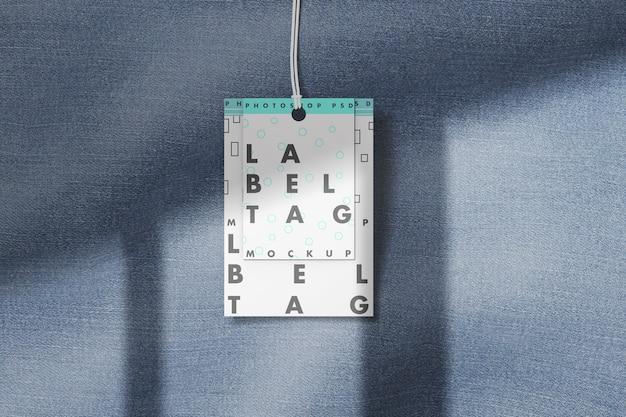 Mockup di tag etichetta di moda con panno