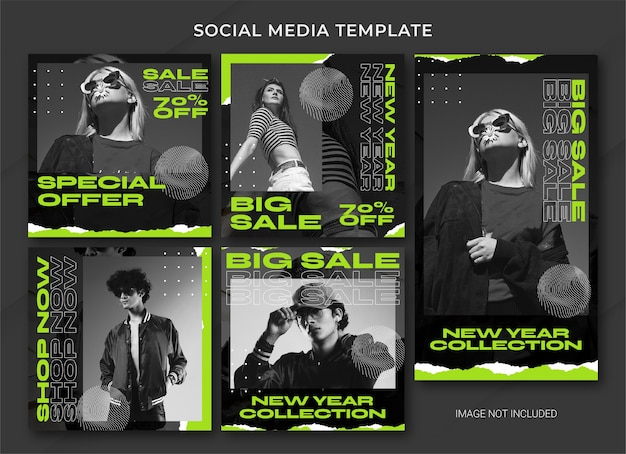Modello di bundle post instagram di vendita di capodanno di moda