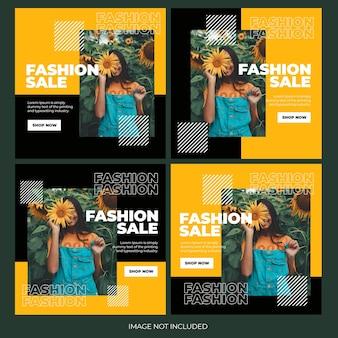 Modello di bundle di post di instagram per lo shopping online di moda