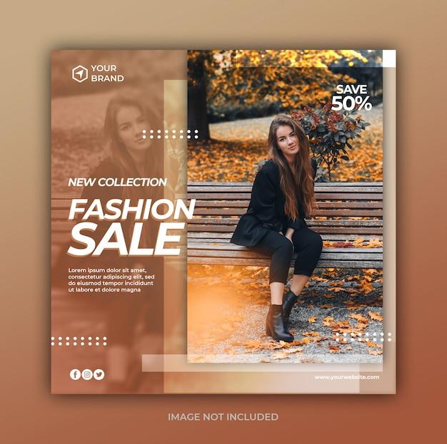 Banner di vendita di moda o volantino quadrato per modello di post di social media Psd Premium