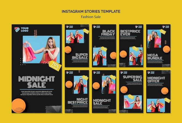 Modello di storie di instagram di concetto di vendita di moda