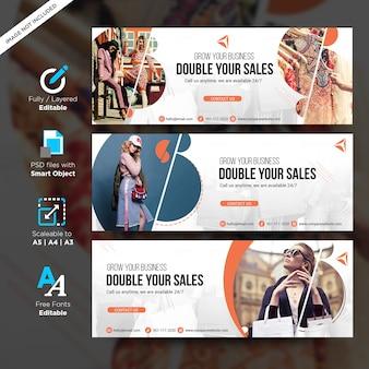 Modello creativo di vendita di moda per banner social media con copyspace