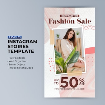Modello di sconto di vendita di moda per storie sui social media