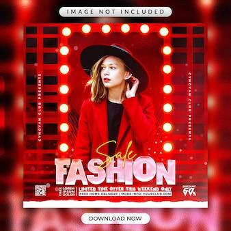 Volantino di vendita di moda o modello di banner promozionale per social media