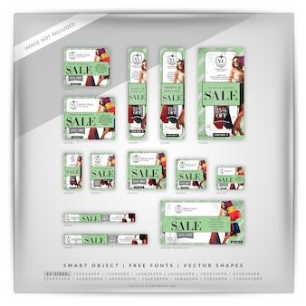 Set di banner google di moda e vendita