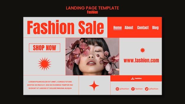 Modello di pagina di destinazione della vendita di moda
