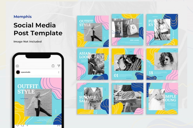 Vendita di moda memphis instagram post template set