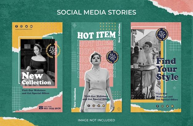 Modello di social media di storie di instagram vintage retrò di vendita di moda