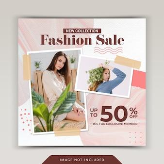 Modello di post instagram di social media di vendita di moda