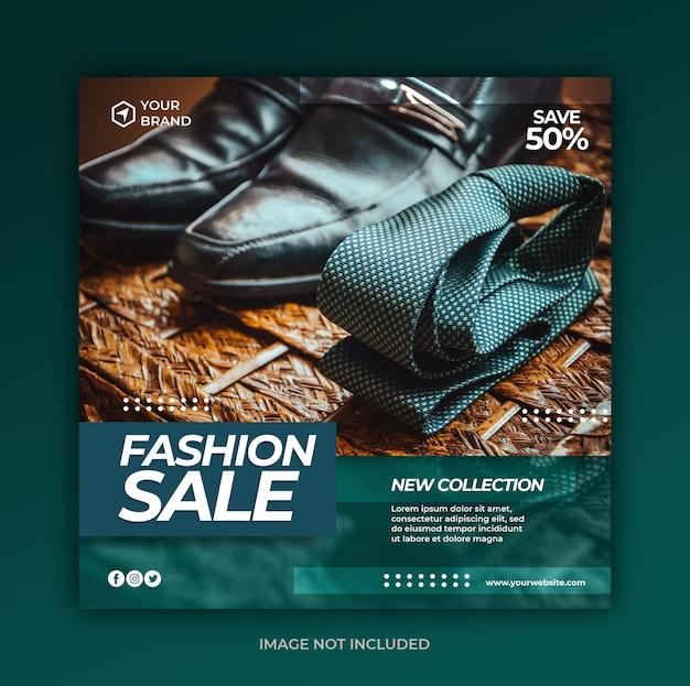 Posta di social media di vendita di moda e modello di banner web quadrato