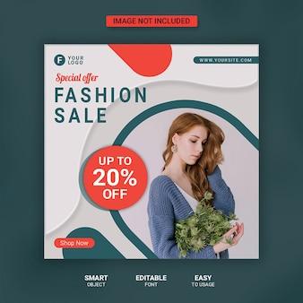Modello di post di social media vendita di moda