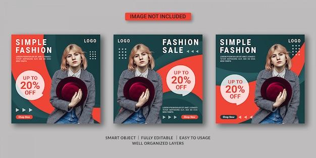 Modello di post sui social media di vendita di moda