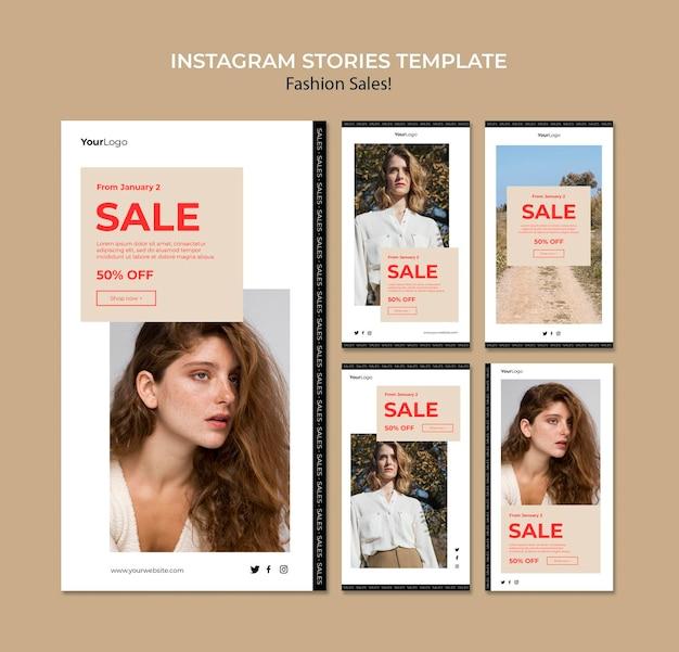 Modello di storie sui social media di vendita di moda