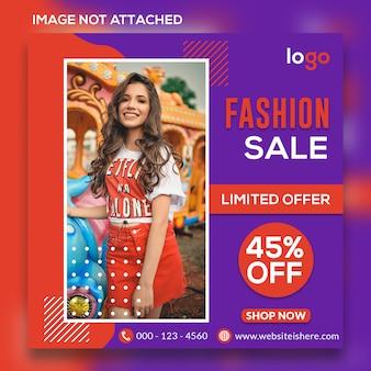 Banner di social web di vendita di moda