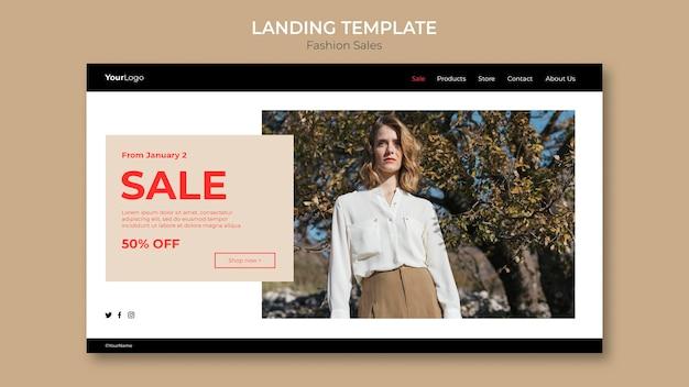 Modello di pagina di destinazione di vista bassa della donna di vendita di moda