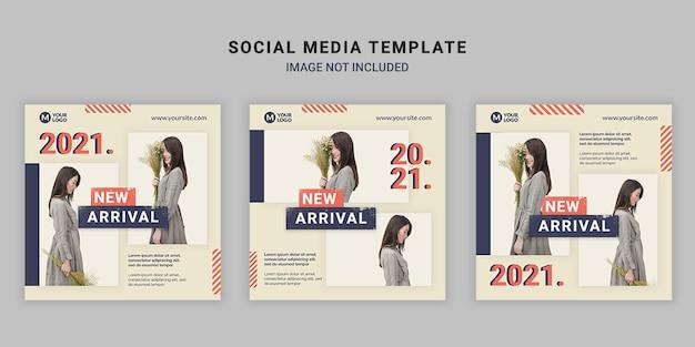 Modello di post quadrato di social media di moda