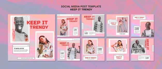 Modello di post sui social media del negozio di moda