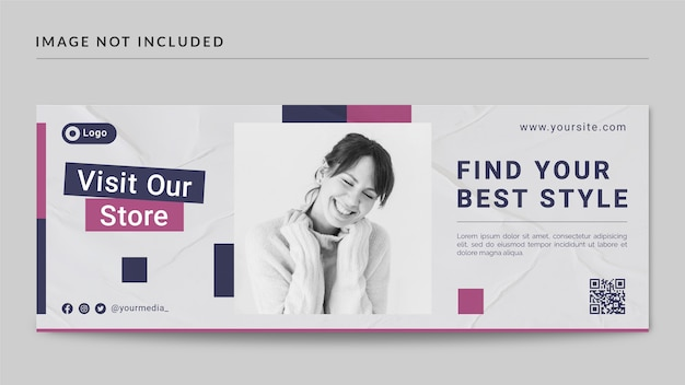 Copertina facebook stile moda e modello di banner web