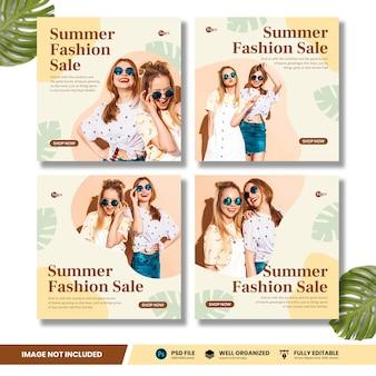 Collezione di banner social media promo fashion summer