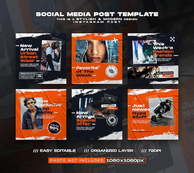 Modelli di post sui social media delle tendenze della moda