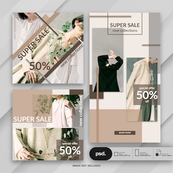 Modello di media sociali di banner web di moda