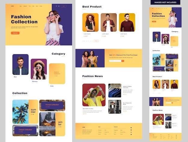 Pagina di destinazione del sito web di moda