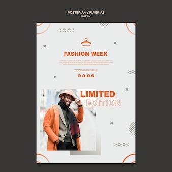 Modello di volantino con offerta limitata per la settimana della moda
