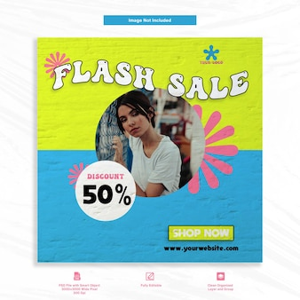 Fasion flash sale social media template post feed banner