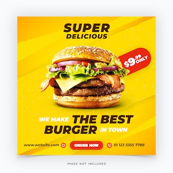Banner di social media hamburger fast food