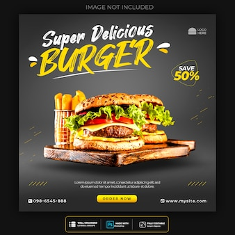 Modello di social media hamburger fast food