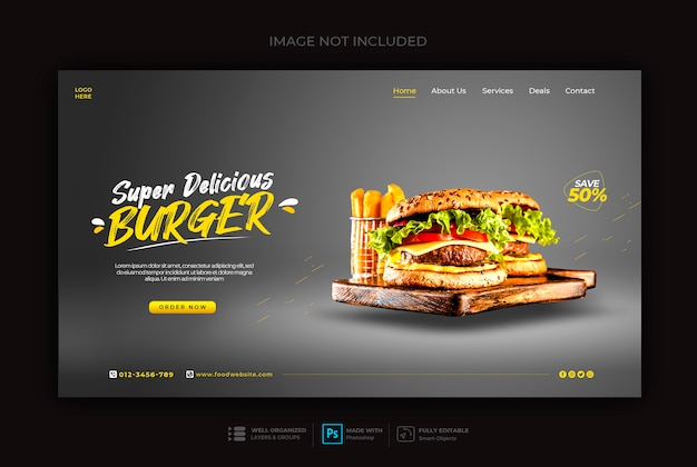 Modello di banner web fast food o hamburger