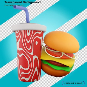 Hamburger di fast food, patatine fritte e bibita 3d illustrazione
