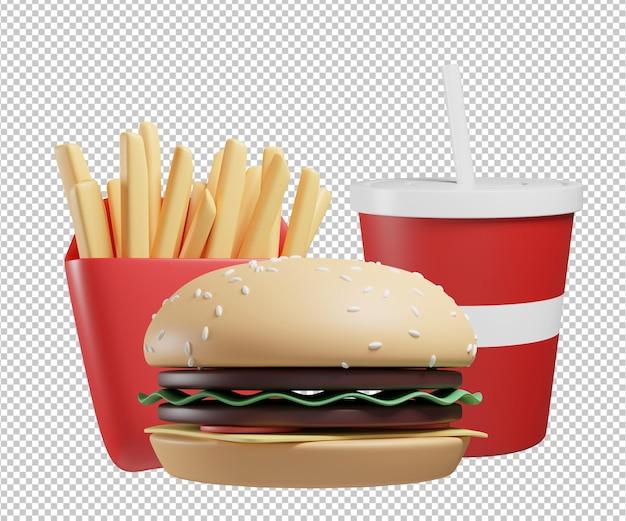 Rendering di progettazione dell'illustrazione 3d del menu di fast food isolato