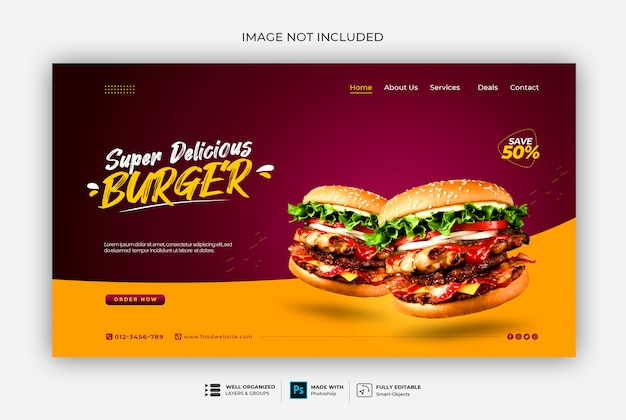 Modello di banner web fast food o ristorante